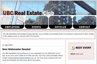 Image of UBC Real Estate Club Website